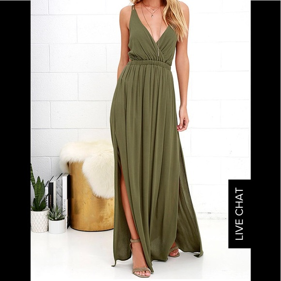 6886a7c8fc4 LOST IN PARADISE OLIVE GREEN MAXI DRESS